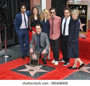 LOS ANGELES, CA - MARCH 11, 2015: Actor Jim Parsons, Kunal Nayyar, Mayim Bialik, Melissa Rauch, Simon Helberg, Johnny Galecki & Kaley Cuoco-Sweeting at Parsons' star ceremony