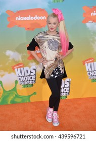 LOS ANGELES, CA - MARCH 12, 2016: Jojo Siwa at the 2016 Kids' Choice Awards at The Forum, Los Angeles.