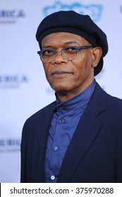 "LOS ANGELES, CA - MARCH 13, 2014: Samuel L. Jackson at the world premiere of his movie ""Captain America: The Winter Soldier"" at the El Capitan Theatre, Hollywood."