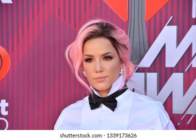 LOS ANGELES, CA. March 14, 2019: Halsey at the 2019 iHeartRadio Music Awards at the Microsoft Theatre.