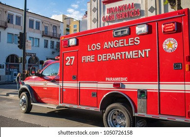 Los Angeles, CA: March 15, 2018: Los Angeles Fire Department paramedic truck on Hollywood Blvd.  The Los Angeles Fire Department was founded in 1886.