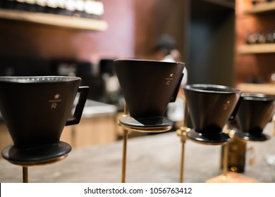 Los Angeles, CA: March 15, 2018:  Starbucks pour-over coffee method on display at Starbucks Reserve.  Starbucks is a multinational coffee company.