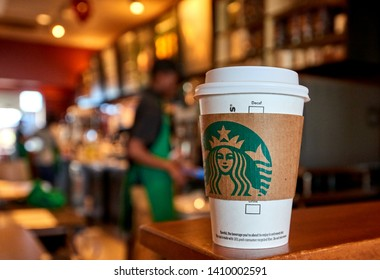 Los Angeles, CA - March 15, 2019: Cup of Starbucks Coffee on counter. Starbucks is the World's largest coffee house.