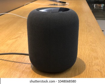 Los Angeles, CA: March 16, 2018: An Apple HomePod speaker on display at an Apple store.