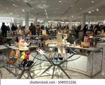 Los Angeles, CA: March 18, 2017: Interior of a Nordstrom store in Los Angeles.