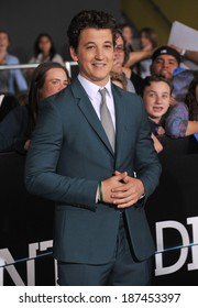 """LOS ANGELES, CA - MARCH 18, 2014: Miles Teller at the Los Angeles premiere of his movie """"Divergent"""" at the Regency Bruin Theatre, Westwood."""