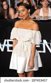 "LOS ANGELES, CA - MARCH 18, 2014: Zoe Kravitz at the Los Angeles premiere of her movie ""Divergent"" at the Regency Bruin Theatre, Westwood."