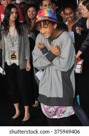 """LOS ANGELES, CA - MARCH 18, 2014: Jaden Smith at the Los Angeles premiere of """"Divergent"""" at the Regency Bruin Theatre, Westwood."""