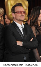 LOS ANGELES, CA - MARCH 2, 2014: Bono (of U2) at the 86th Annual Academy Awards at the Hollywood & Highland Theatre, Hollywood.
