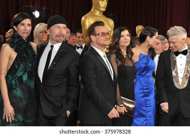 LOS ANGELES, CA - MARCH 2, 2014: U2 with Bono & The Edge at the 86th Annual Academy Awards at the Hollywood & Highland Theatre, Hollywood.