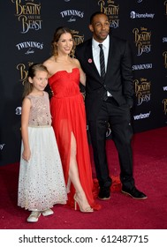 "LOS ANGELES, CA. March 2, 2017: Dancer Allison Holker, husband Stephen ""tWitch"" Boss & her daughter Weslie Fowler at the premiere for ""Beauty and the Beast"" at the El Capitan Theatre, Hollywood."