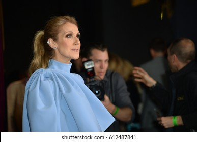 "LOS ANGELES, CA. March 2, 2017: Singer Celine Dion at the premiere for Disney's ""Beauty and the Beast"" at the El Capitan Theatre, Hollywood."