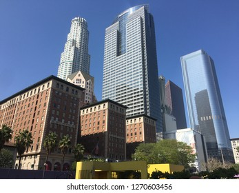 LOS ANGELES, CA, MARCH 2016: skyscrapers and Biltmore Hotel seen from Pershing Square in Downtown