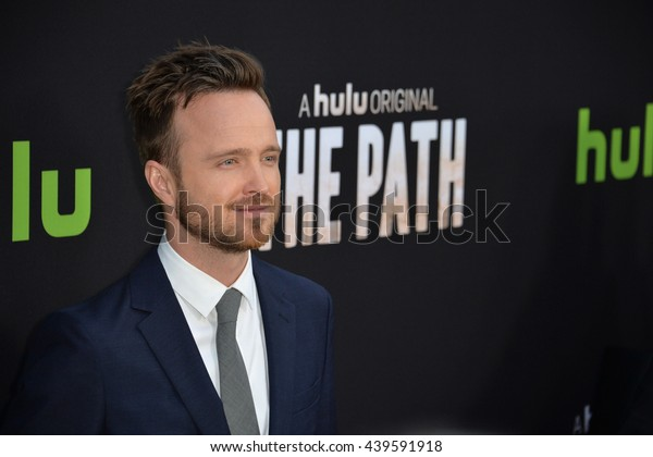 "LOS ANGELES, CA - MARCH 21, 2016: Actor Aaron Paul at the premiere for the Hulu original TV series ""The Path"" at the Arclight Theatre, Hollywood."