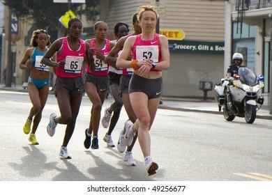 LOS ANGELES, CA - MARCH 22: Women's leading pack at 2010 LA marathon including winner Edna Kiplagat on March 22, 2010 in Los Angeles, California