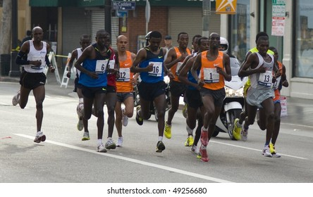 LOS ANGELES, CA - MARCH 22: Men's leading pack at 2010 LA marathon including winner Wesley Korir on March 22, 2010 in Los Angeles, California .