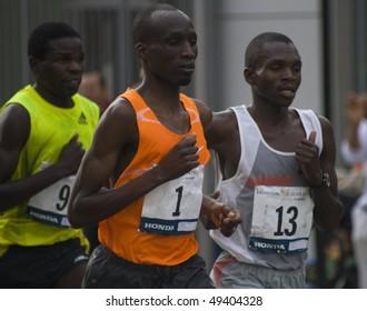 LOS ANGELES, CA - MARCH 22: Wesley Korir, rank #1, Sammy Kibet, rank#13, Paul Samoei, rank#3 at 2010 LA marathon on March 22, 2010 in Los Angeles, California.