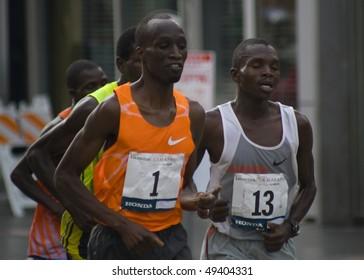 LOS ANGELES, CA - MARCH 22: Wesley Korir, rank #1, Sammy Kibet, rank#13, at 2010 LA marathon on March 22, 2010 in Los Angeles, California.