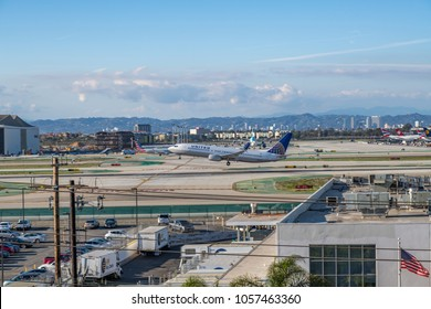 Los Angeles, CA: March 23, 2018: A United Airlines jet takes off at Los Angeles International Airport (LAX). United Airlines is the world's third largest airline.