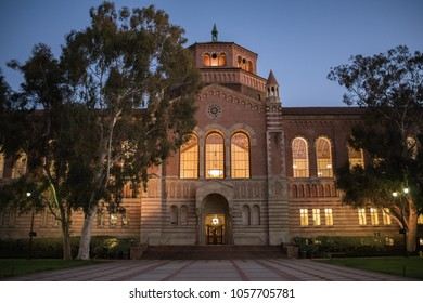 Los Angeles, CA: March 23, 2018:  Powell Library on the University of California, Los Angeles (UCLA) campus. UCLA is a public university in the Los Angeles area.
