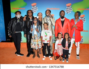 LOS ANGELES, CA. March 23, 2019: Migos, Takeoff, Quavo, Offset & Family at Nickelodeon's Kids' Choice Awards 2019 at USC's Galen Center.Picture: Paul Smith/Featureflash
