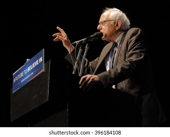 LOS ANGELES, CA - MARCH 23, 2016: Vermont U.S. Senator Bernie Sanders and 2016 Democratic presidential candidate, speaks during a campaign rally at the Wiltern Theater