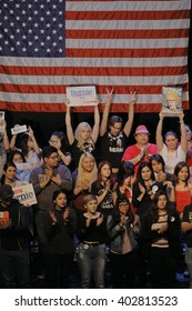LOS ANGELES, CA - MARCH 23, 2016: Supporters of Vermont U.S. Senator Bernie Sanders & 2016 Democratic presidential candidate, campaign rally at Wiltern Theater