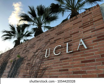 Los Angeles, CA:  March 25, 2018: UCLA sign on the University of California, Los Angeles, campus.  UCLA is a public university in LA.