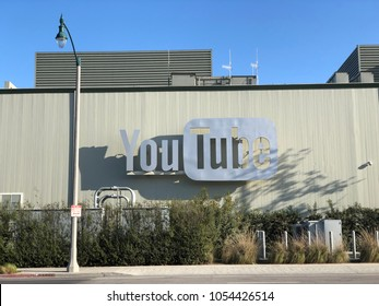 Los Angeles, CA: March 25, 2018: YouTube building in Playa del Rey.  Alphabet, which owns Google, also is the parent company of YouTube.