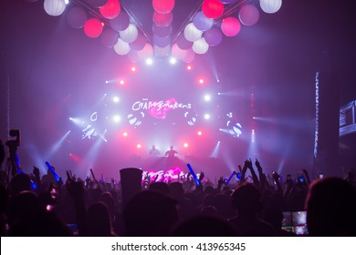 LOS ANGELES, CA - MARCH 26, 2016: The Chainsmokers Performs at AMP Radio's Amplify 2016