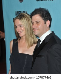 LOS ANGELES, CA - MARCH 27, 2010: Jimmy Kimmel & Molly McNearney at the 24th Annual American Cinematheque Award Gala, where Matt Damon was honored, at the Beverly Hilton Hotel.