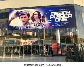 Los Angeles, CA: March 28, 2018: Ready Player One movie poster at the AMC Theater in Century City in Los Angeles.  Ready Player One was directed by Steven Spielberg.