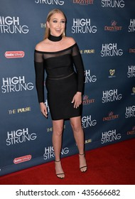 """LOS ANGELES, CA - MARCH 29, 2016: Actress Veronica Dunne at the premiere for """"High Strung"""" at the TCL Chinese 6 Theatres, Hollywood."""