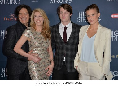 """LOS ANGELES, CA - MARCH 29, 2016: Director Michael Damian & wife producer Janeen Damian & actors Keenan Kampa & Nicholas Galitzine at the premiere for """"High Strung"""" at the TCL Chinese 6 Theatres."""