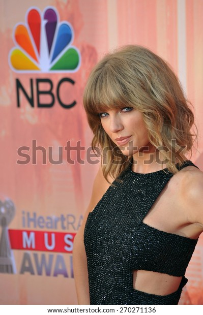 LOS ANGELES, CA - MARCH 29, 2015: Taylor Swift at the 2015 iHeart Radio Music Awards at the Shrine Auditorium.