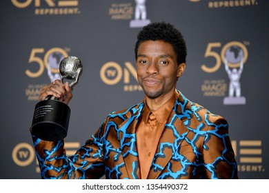 LOS ANGELES, CA. March 30, 2019: Chadwick Boseman at the 50th NAACP Image Awards.Picture: Paul Smith/Featureflash