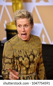LOS ANGELES, CA - March 4, 2018: Frances McDormand at the 90th Academy Awards Awards at the Dolby Theartre, Hollywood