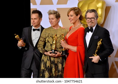 LOS ANGELES, CA - March 4, 2018: Gary Oldman, Frances McDormand, Sam Rockwell & Allison Janney at the 90th Academy Awards Awards at the Dolby Theartre, Hollywood