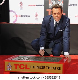 LOS ANGELES, CA - MARCH 4, 2015: Actor Vince Vaughn at the TCL Chinese Theatre, Hollywood, where he had his hand and footprints set in cement.