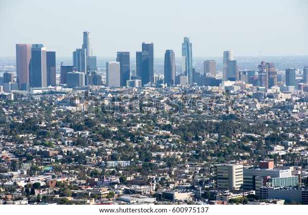 Los Angeles, CA: March 6, 2017: Downtown Los Angeles skyline.  Los Angeles is the second largest in the United States, with a population of 3,792,621.