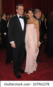LOS ANGELES, CA - MARCH 7, 2010: Matt Damon & Luciana Barroso at the 82nd Annual Academy Awards at the Kodak Theatre, Hollywood.