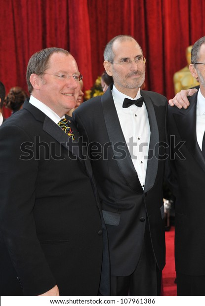 LOS ANGELES, CA - MARCH 7, 2010: John Lasseter & Steve Jobs at the 82nd Annual Academy Awards at the Kodak Theatre, Hollywood.
