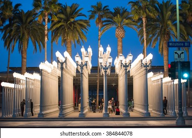 LOS ANGELES, CA - March 9: 'Urban Light' is a large-scale assemblage sculpture by Chris Burden at the Los Angeles County Museum of Art. The installation consists of 202 restored street lamps.