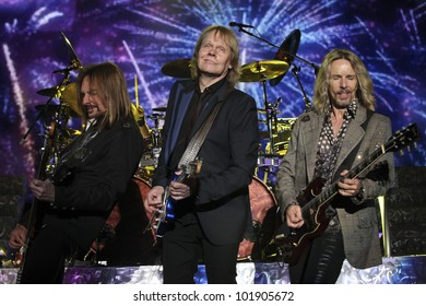 LOS ANGELES, CA - MAY 06: Ricky Phillips, James Young and Tommy Shaw of Styx perform at the Greek Theatre on May 6, 2012 in Los Angeles, CA.