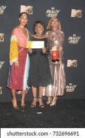 LOS ANGELES, CA - May 07, 2017: U.S. Representative Maxine Waters & actresses Taraji P. Henson & Tracee Ellis Ross at the 2017 MTV Movie & TV Awards at the Shrine Auditorium
