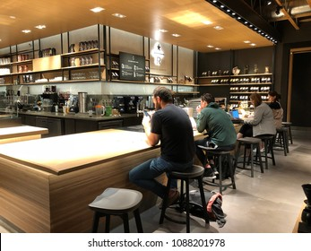 Los Angeles, CA: May 10, 2018: Starbucks Reserve store in the Los Angeles area. Starbucks has plans to open several hundred Starbucks Reserve stores in the world.