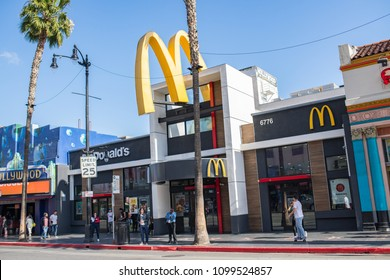 Los Angeles, CA: May 17, 2018: McDonald's on Hollywood Blvd. in Los ANgeles. McDonald's is an American corporation with annual revenue of $25 billion (2015).