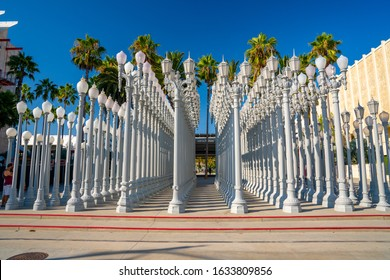 LOS ANGELES, CA - May 19: 'Urban Light' - a large-scale assemblage sculpture by Chris Burden at the Los Angeles County Museum of Art. The installation consists of 202 restored street lamps.
