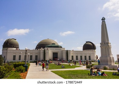 LOS ANGELES, CA -  MAY 27, 2013: Tourists coming to visit the Griffith Obervatory - Los Angeles