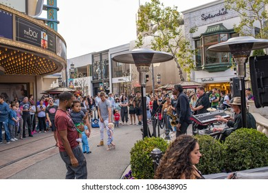 Los Angeles, CA: May 5, 2018: Outdoor exterior of The Grove shopping mall in Los Angeles.  The Grove in Los Angeles. The Grove opened to the public in 2002.